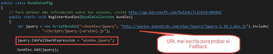 Bundles, minificación y CDN en ASP.NETMVC