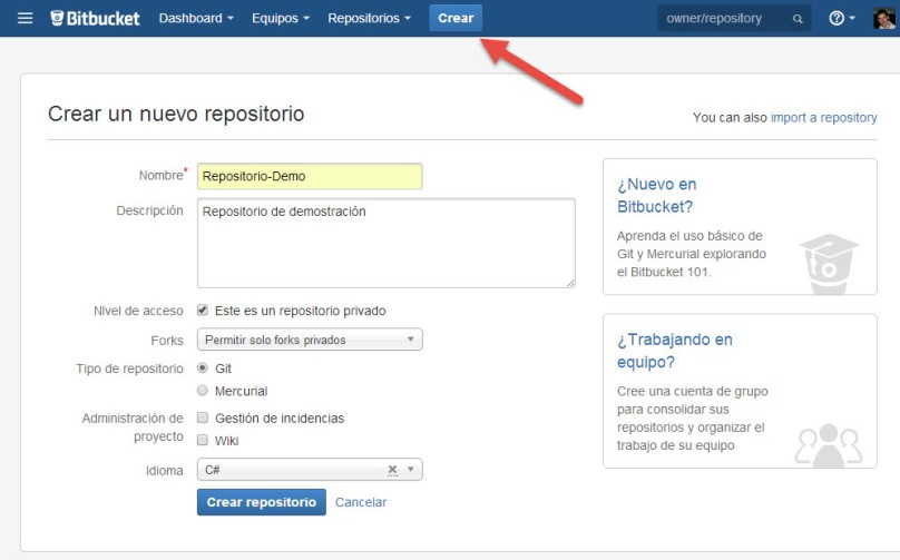 GitVS2013 - CrearRepo