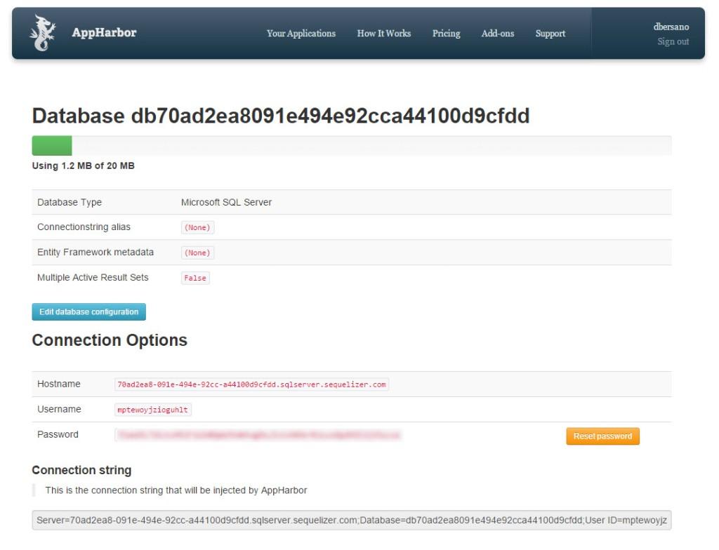 AppHarbor - ConfiguracionBD