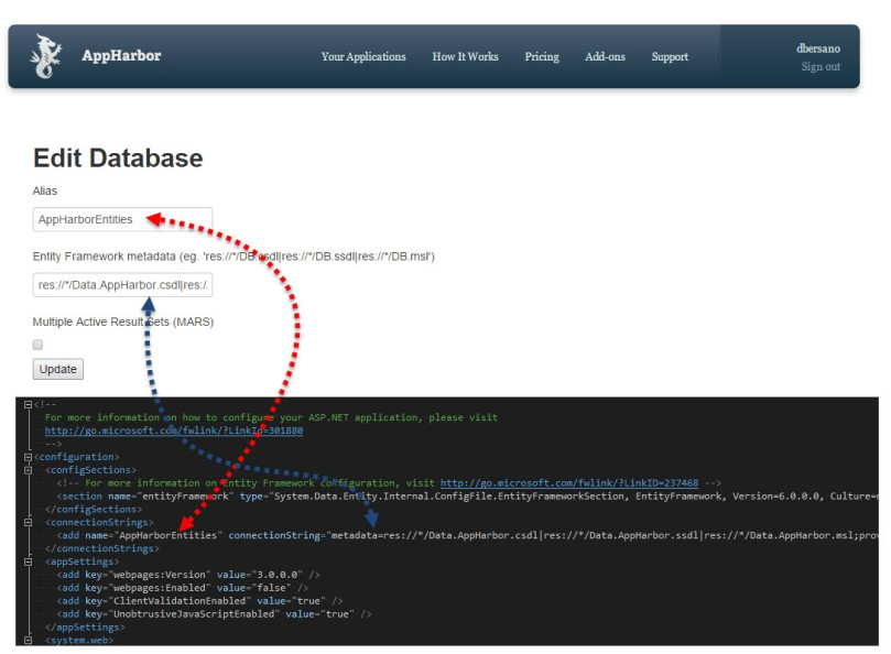 AppHarbor - ConfiguracionBDCadena