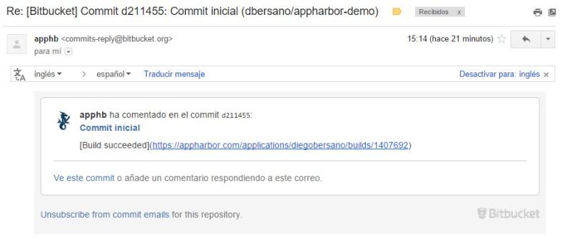 AppHarbor - CorreoNotificacionCommit