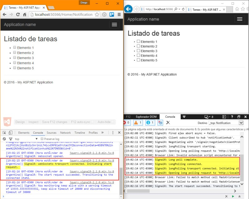 ImplementacionSignalR - ConexionesNavegadores