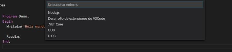 VSCodePascal - SeleccionEjecucion