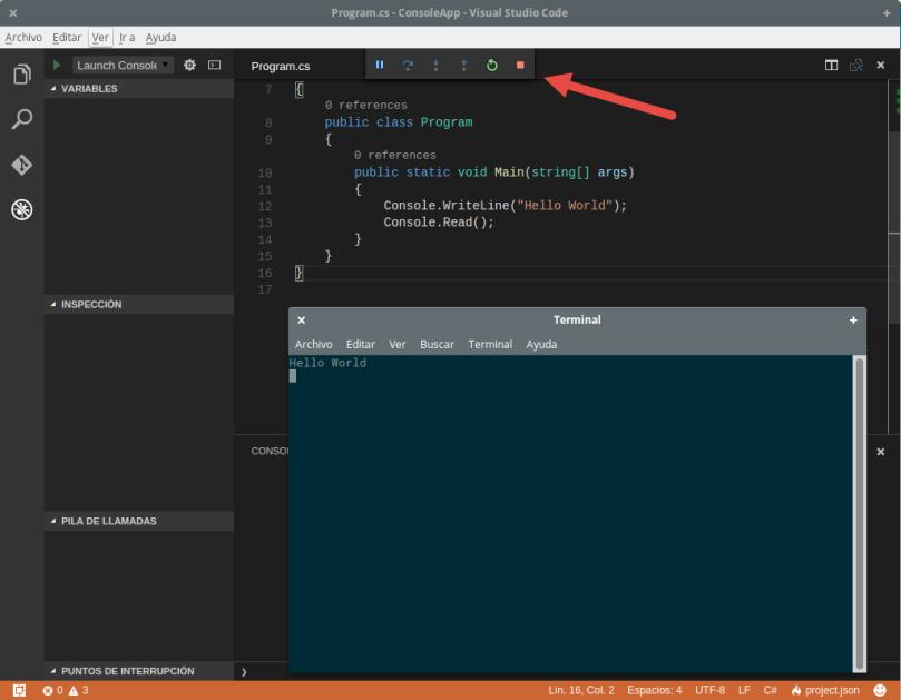 VSCodeDebugUbuntu - AppEnEjecucion